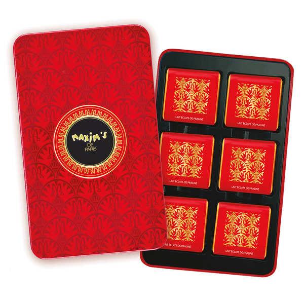 Plumier carrés de chocolat au lait éclats de praliné - Maxim's