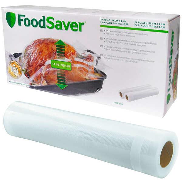 2 rouleaux extensibles 28cm x 4.8m FoodSaver® pour mise sous vide FVR003X