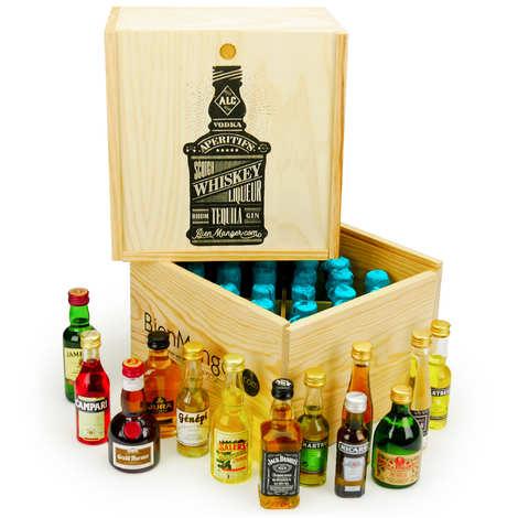 BienManger paniers garnis - Spirit Mini Bar Gift Crate - 24 miniatures