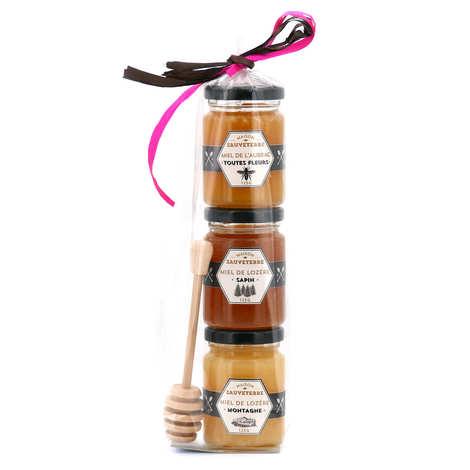 BienManger paniers garnis - 3 Honey Jars Gift Set and wood dipper