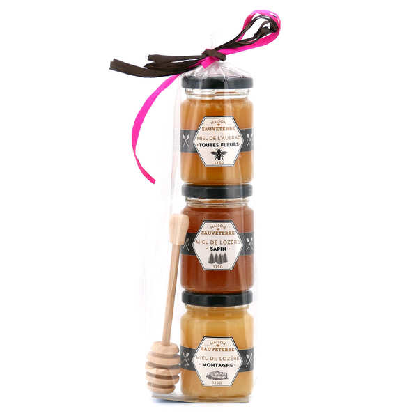 3 Honey Jars Gift Set and wood dipper