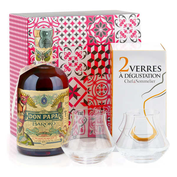 Don Papa Rum tasting gift box with 2 glasses