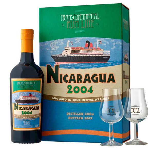 Coffret 2 verres Rhum Nicaragua 2004 - Transcontinental Line Rum 43%