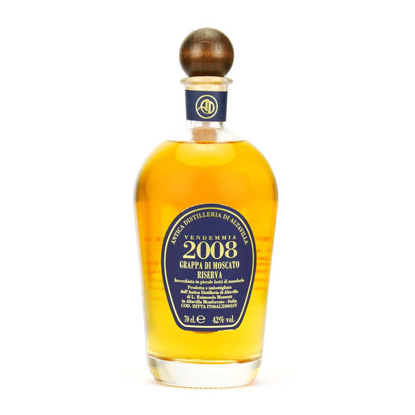Grappa riserva 2004 de moscato - eau de vie italienne 42% - bouteille 70cl