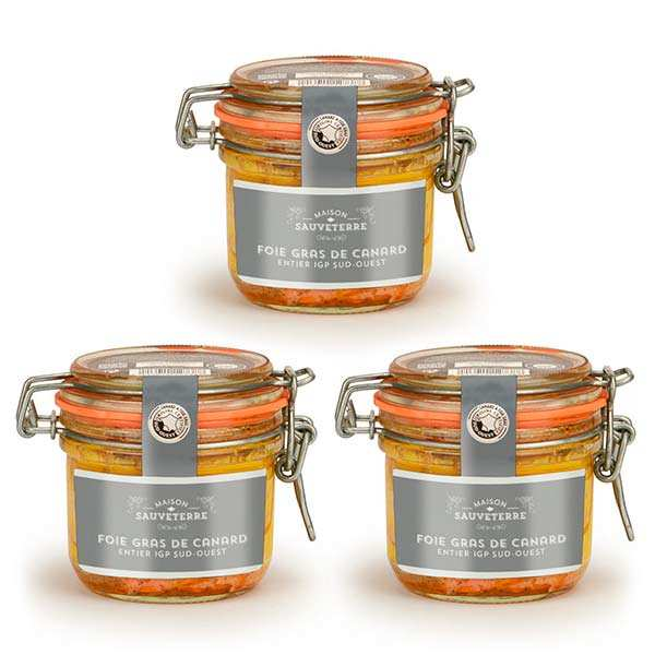 Set of 3 Whole Duck Foie Gras from France