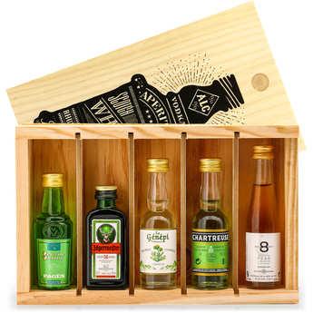 BienManger paniers garnis - Digestif Spirit Mini Bar Gift Crate - 5 miniatures