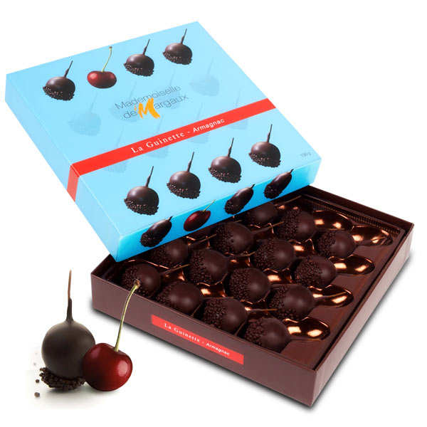 Cherries in Dark Chocolate with Armagnac - Mademoiselle de Margaux