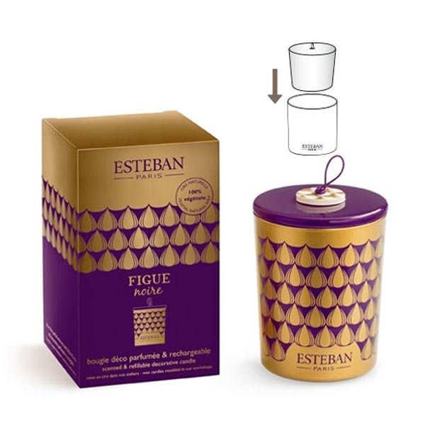 Bougie parfumée décorative et rechargeable - Figue noire