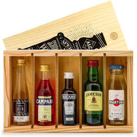 BienManger paniers garnis - Aperitif Spirit Mini Bar Gift Crate - 5 miniatures