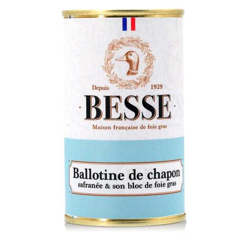 Foie gras GA BESSE - Ballotine de chapon safranée et son bloc de foie gras de canard