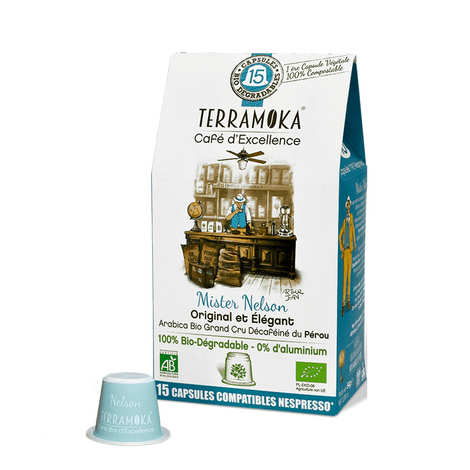 Terra Moka - Nelson decaffeinated - Nespresso® compatible and biodegradable organic coffee capsules