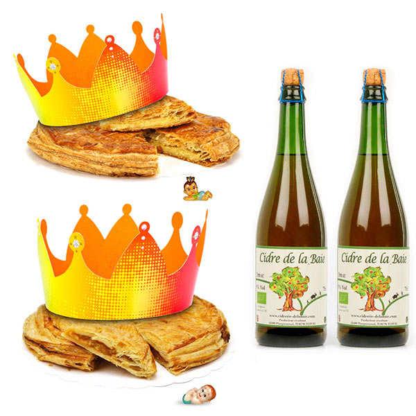 2 galettes des rois et leurs bouteilles de cidre fermier bio