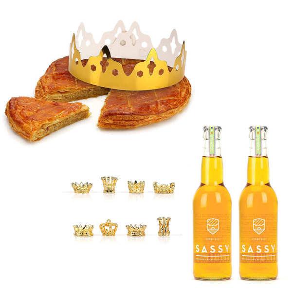 Galette des rois frangipane et ses 2 bouteilles de cidre