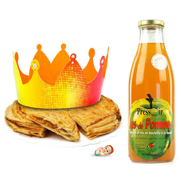 Galette des rois like a tatin with organic apple juice