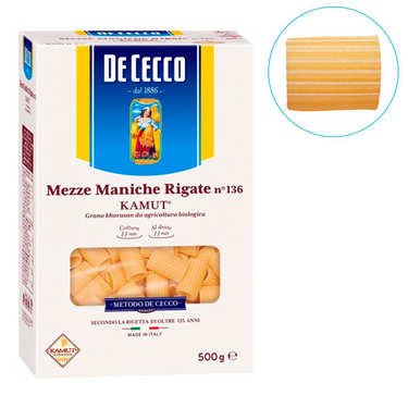 Organic Kamut Mezze Maniche Rigate De Cecco