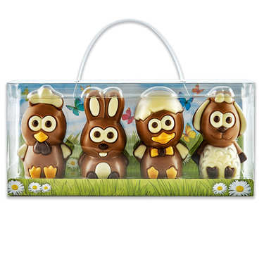 Suitcase with 4 Milk Chocolate Figurines