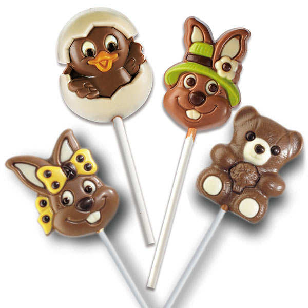Set of 4 Milk and Withe Chocolate Assorted Lollipos