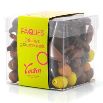 Voisin chocolatier torréfacteur - Le cube assortiment de friture et d'oeufs de Pâques noir et lait