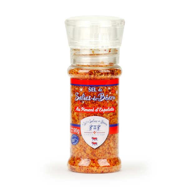 Source Coarse Salt with Espelette Chilli in Glass Mill