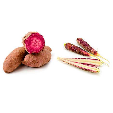 - Lot découverte carottes et patates douces violettes fraîches bio