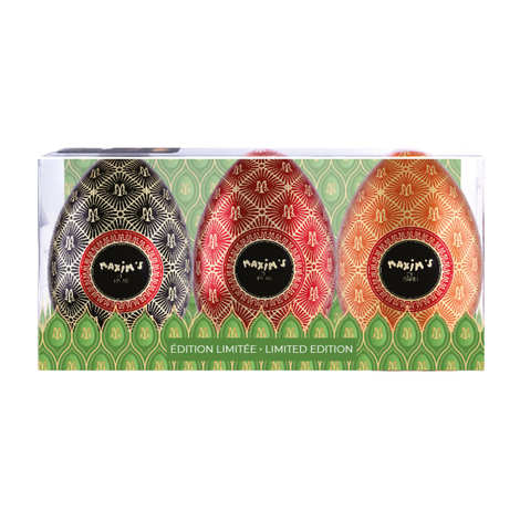 Maxim's de Paris - Etui de 3 œufs de Pâques en métal garnis de chocolats Maxim's