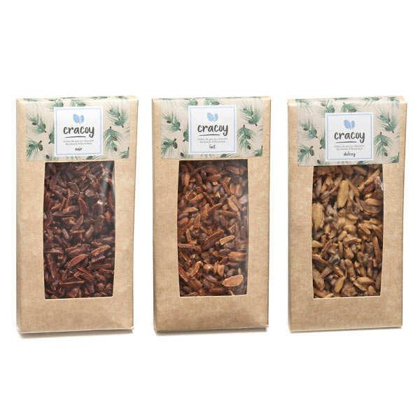 Trio de tablettes de chocolat et pignon de pin Cracoy