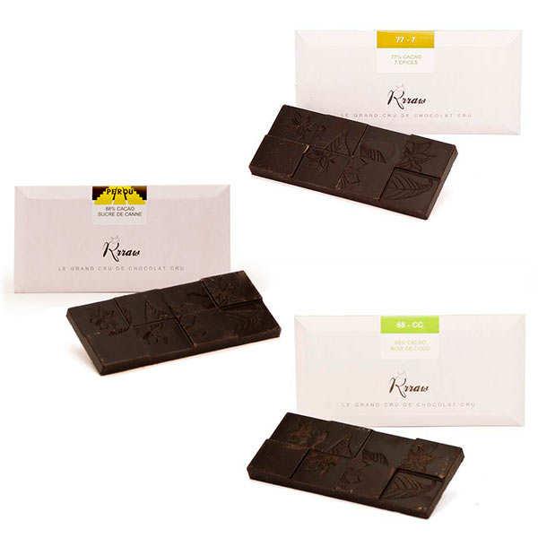 Trio de tablettes de chocolat cru