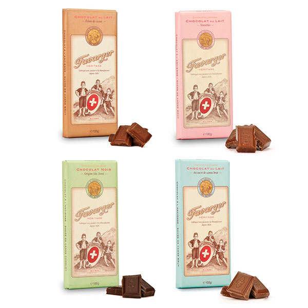 Assortiment découverte des tablettes de chocolat suisse Favarger
