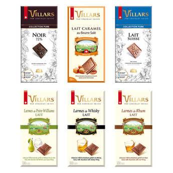 Villars maître chocolatier - Assortiment de tablettes de chocolat suisse Villars