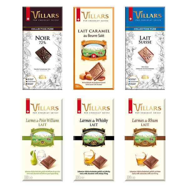 Assortiment de tablettes de chocolat suisse Villars
