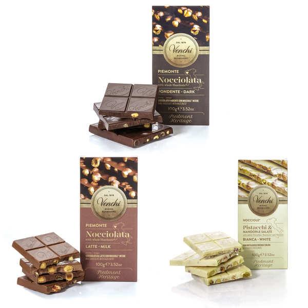 Trio of Italian chocolate bars Venchi