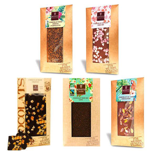 Assortiment découverte tablettes de chocolat Bovetti