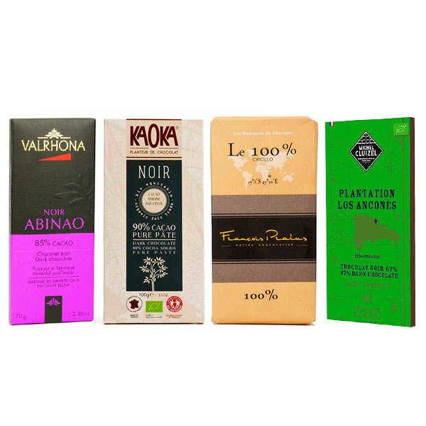 Assortiment tablettes de chocolat noir grandes origines