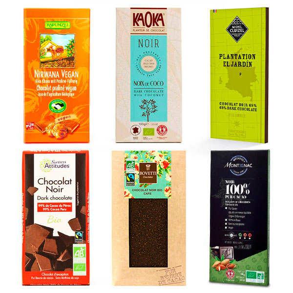 Assortiment tablettes de chocolat bio