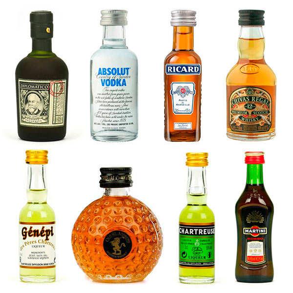 Assortiment découverte d'alcools en version mignonnettes