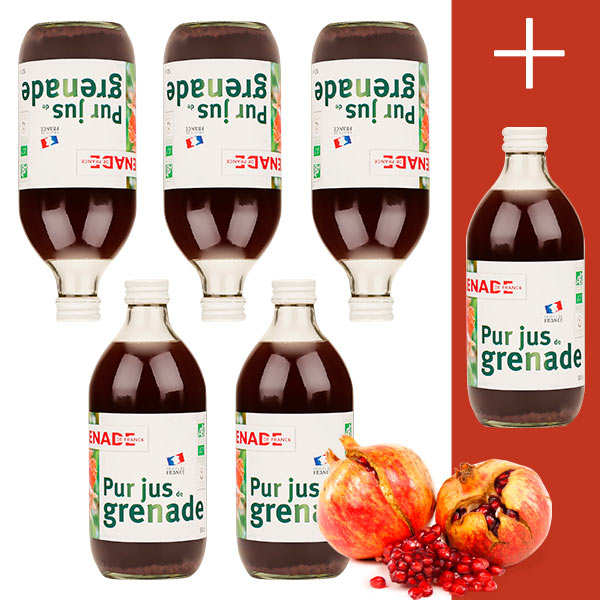 Organic and Vegan French Pomegranate Juice - 5 +1 free