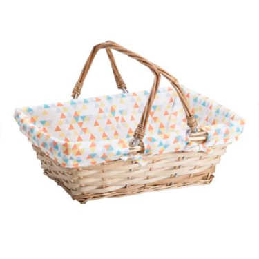 Natural rectangular wicker basket with printed fabric lining