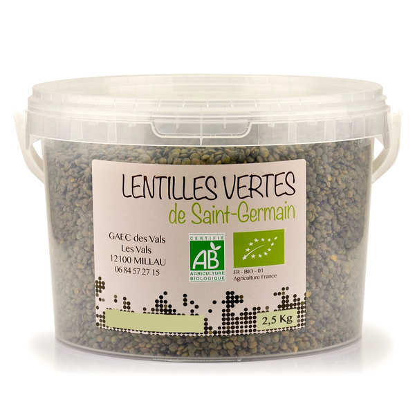Organic green lentils from Aveyron