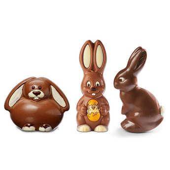 - Trio de lapins de Pâques au chocolat au lait