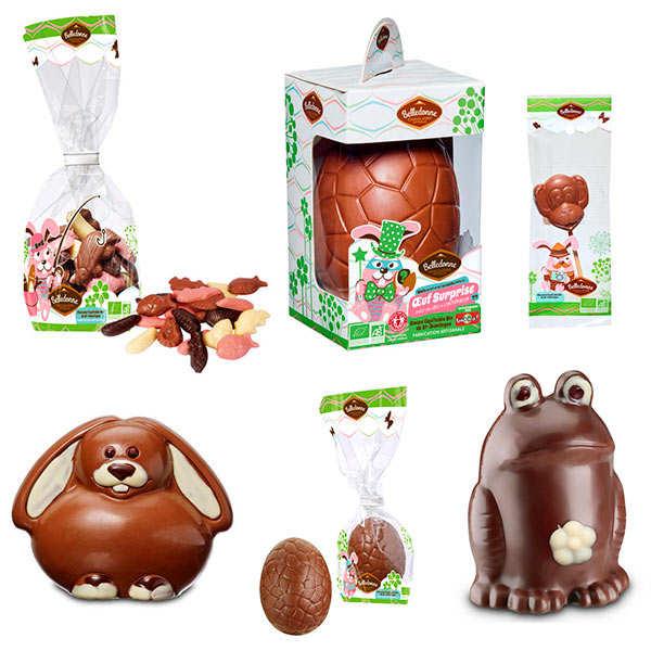 Assortiment de chocolats de Pâques bio