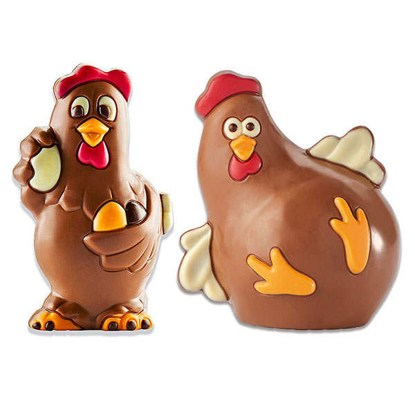 Milk Chocolate Rooster and Young Hen