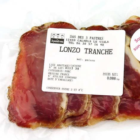 Les 3 pastres - Lonzo tranché d'Aveyron sans nitrites