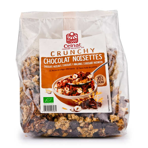 Organic Crunchy Oat Cereal with Dark Chocolate and Hazelnut