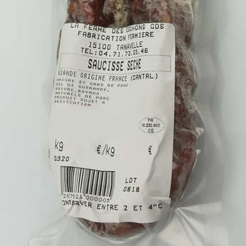 La ferme des cochons gourmands - Dry sausage from Cantal without Nitrites