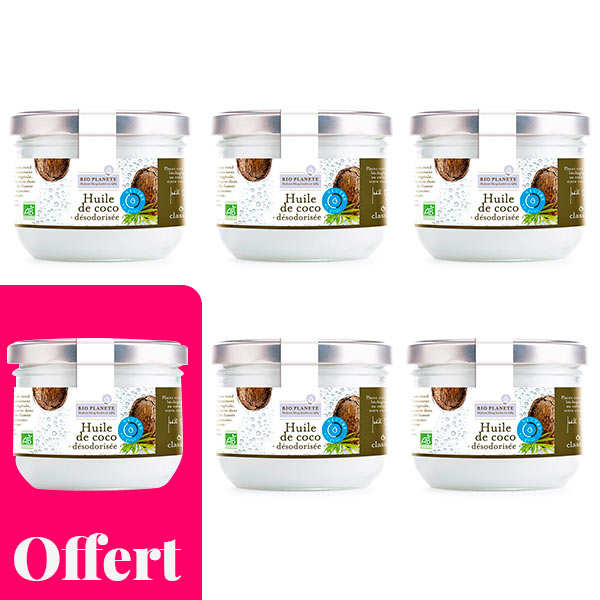 Huile de coco désodorisée bio - 5 + 1 offert