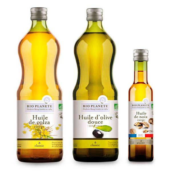 Assortiment d'huiles bio d'assaisonnements BioPlanète