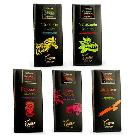 Voisin chocolatier torréfacteur - Assortiment découverte tablettes de chocolat noir Voisin
