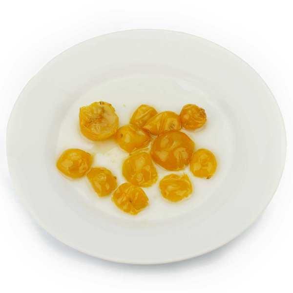 Tomates cerises jaunes semi confite à l'huile
