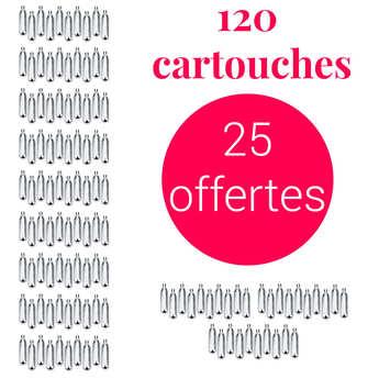 Liss - 95 cartouches siphon + 25 offertes C02 - Pour soda et eau de seltz