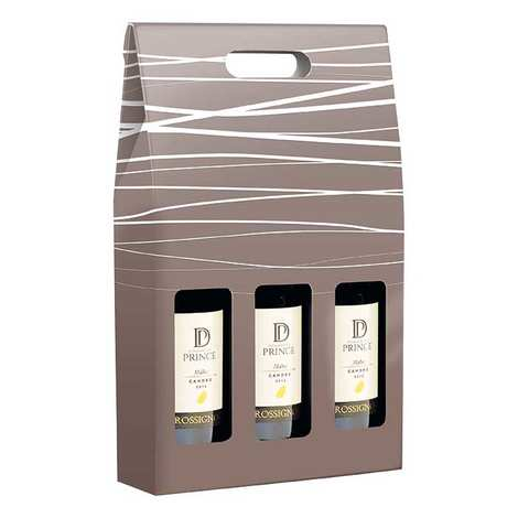 - Cartboard Suitcase 3 Bottles - Grey Decorati